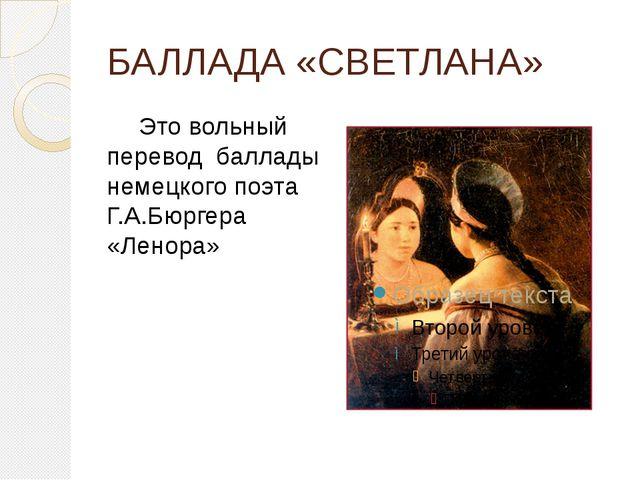 БАЛЛАДА «СВЕТЛАНА» Это вольный перевод  баллады немецкого поэта Г.А.Бюргера...