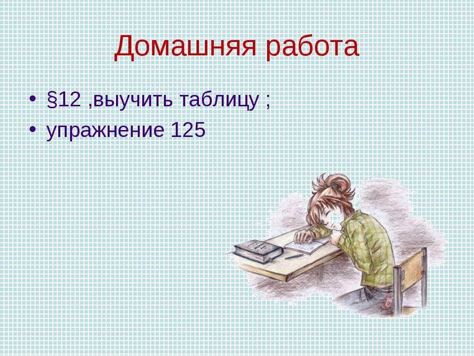 Домашняя работа §12 ,выучить таблицу ; упражнение 125