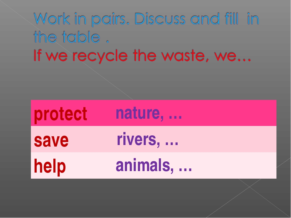 protect nature, … save rivers, … help animals, …