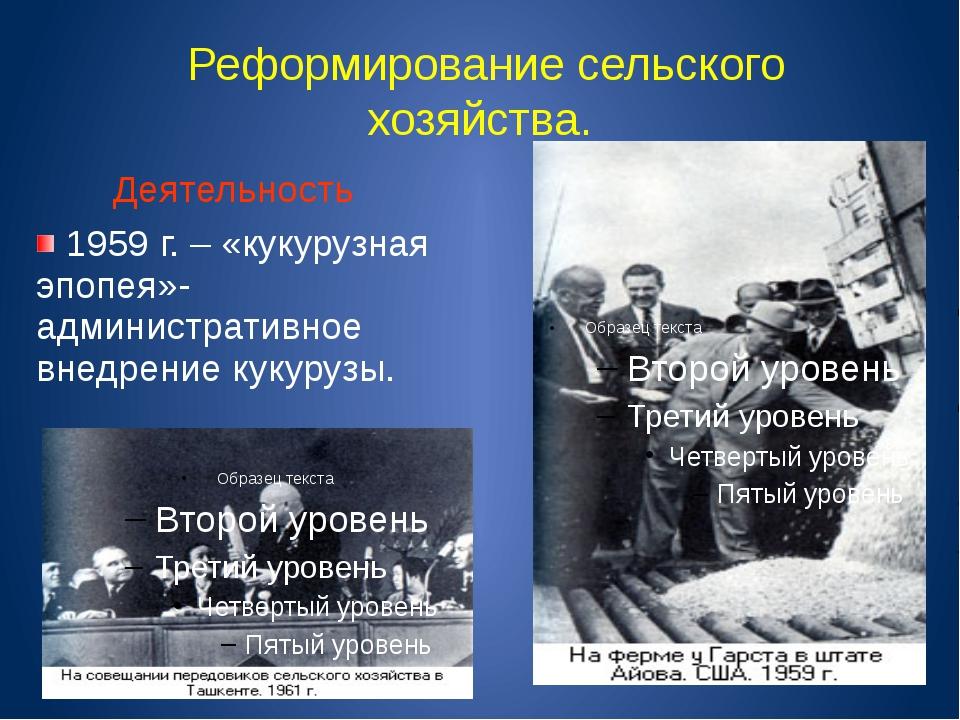 Реформирование сельского хозяйства. Деятельность 1959 г. – «кукурузная эпопе...
