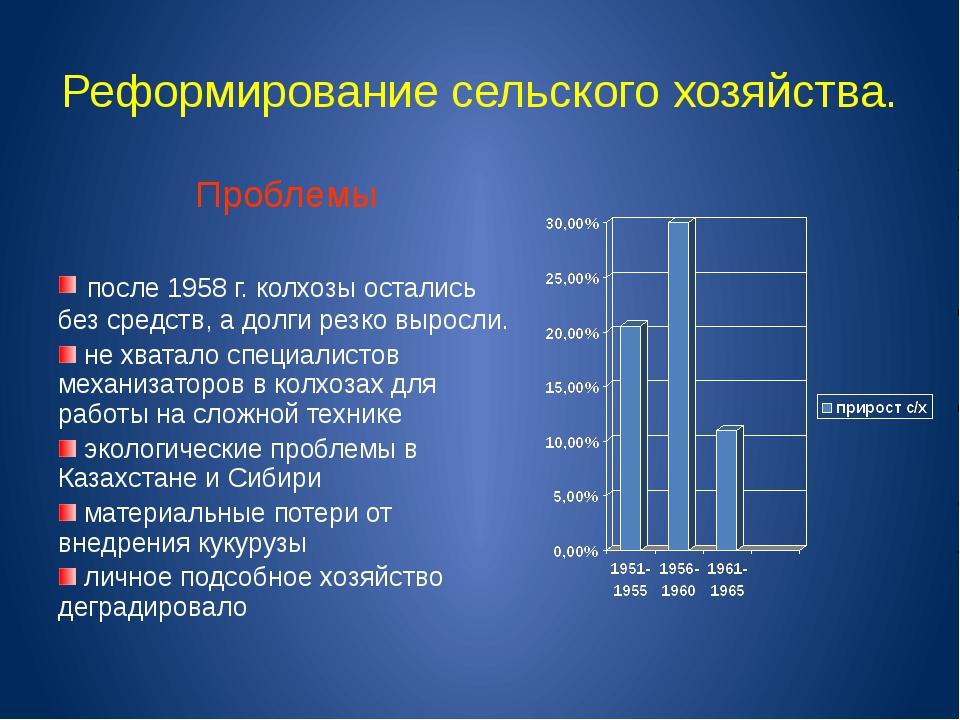 Реформирование сельского хозяйства. Проблемы после 1958 г. колхозы остались б...
