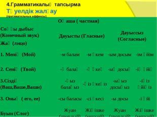 4.Грамматикалық тапсырма Тәуелдік жалғау (притяжательные аффиксы)  Оңаша ( ч