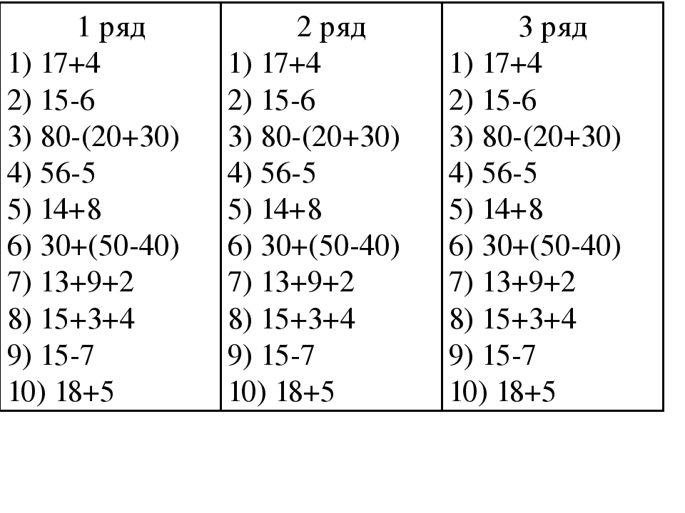 1 ряд 1) 17+4 2) 15-6 3) 80-(20+30) 4) 56-5 5) 14+8 6) 30+(50-40) 7) 13+9+2 8...