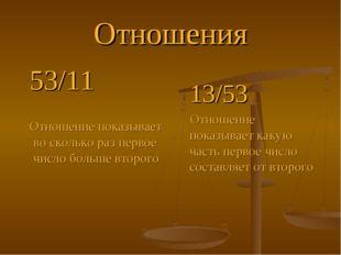 Отношения 53/11 Отношение показывает во сколько раз первое число больше второ