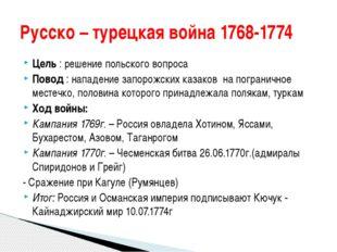 Цель : решение польского вопроса Повод : нападение запорожских казаков на пог