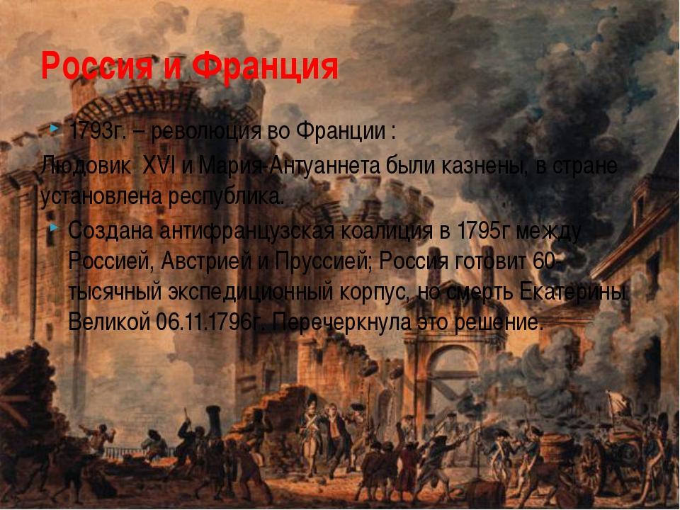 1793г. – революция во Франции : Людовик XVl и Мария-Антуаннета были казнены,...