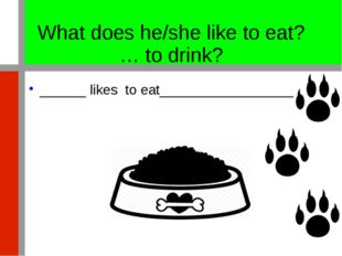 What does he/she like to eat? … to drink? ______ likes to eat________________