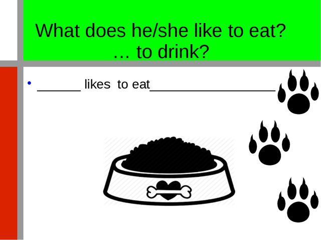 What does he/she like to eat? … to drink? ______ likes to eat________________...