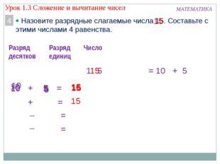 5 5 5 15 15 МАТЕМАТИКА 4  Назовите разрядные слагаемые числа 15. Составьте с