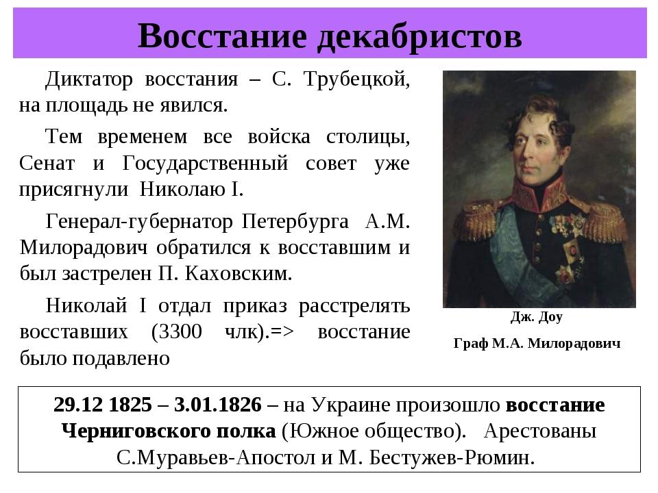 Диктатор восстания – С. Трубецкой, на площадь не явился. Тем временем все вой...
