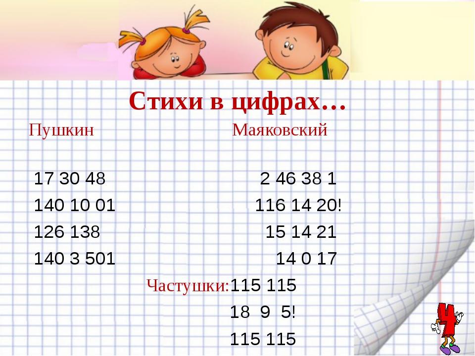 Стихи в цифрах… Пушкин Маяковский 17 30 48 2 46 38 1 140 10 01 116 14 20! 126...