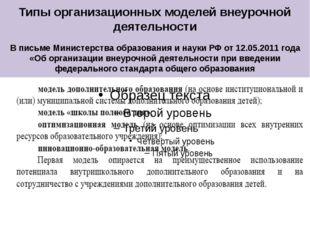 Типы организационных моделей внеурочной деятельности В письме Министерства об