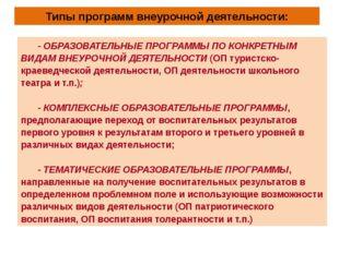 Типы программ внеурочной деятельности: - ОБРАЗОВАТЕЛЬНЫЕ ПРОГРАММЫ ПО КОНКРЕТ