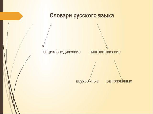 Словари русского языка энциклопедические лингвистические двуязычные одноязычные
