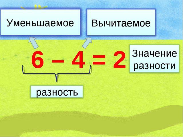 6 – 4 = 2