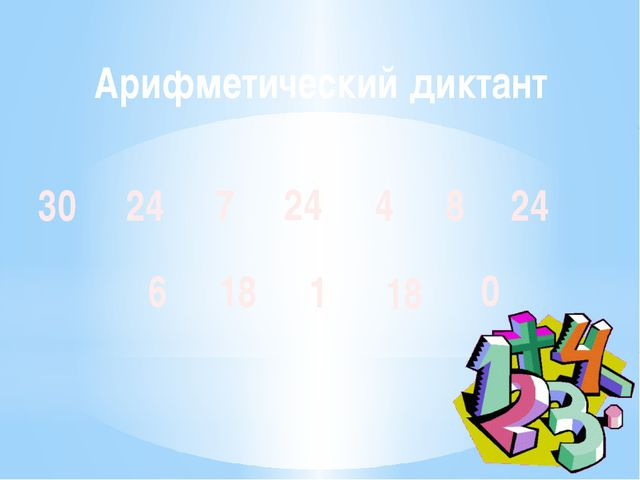 Арифметический диктант 24 30 4 24 7 18 6 1 18 8 24 0