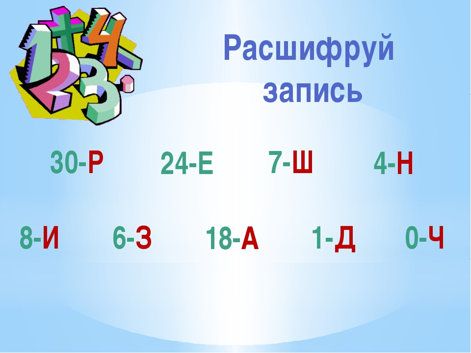 30-Р 24-Е 0-Ч 6-З 1-Д 18-А 8-И 7-Ш 4-Н Расшифруй запись