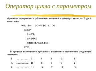 Фрагмент программы с убыванием значений параметра цикла от 5 до 1 имеет вид: