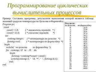 Пример: Составить программу, результатом выполнения которой является таблица