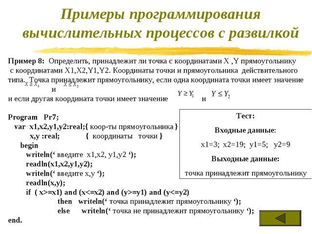 Пример 8: Определить, принадлежит ли точка с координатами X ,Y прямоугольнику...