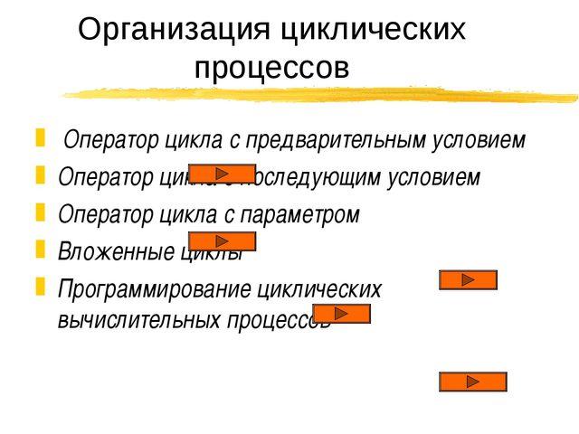 Организация циклических процессов Оператор цикла с предварительным условием О...
