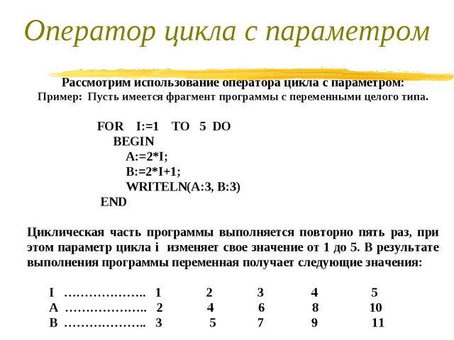 Рассмотрим использование оператора цикла с параметром: Пример: Пусть имеется...