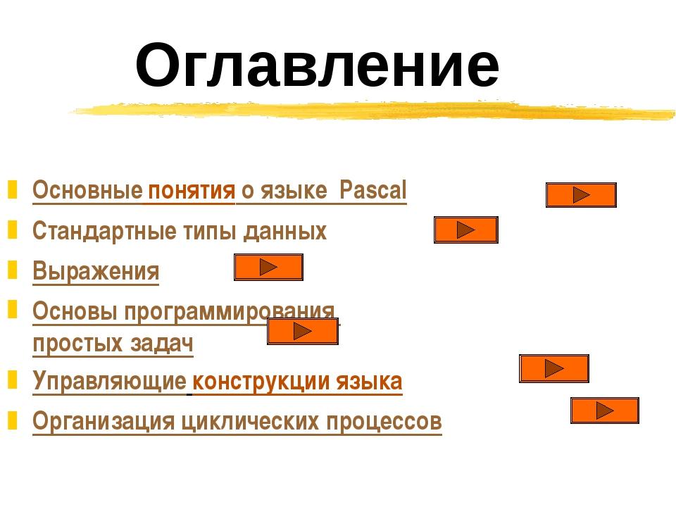 Оглавление Основные понятия о языке Pascal Стандартные типы данных Выражения...