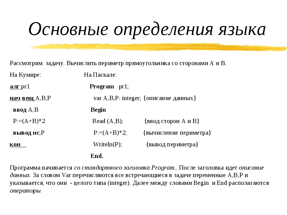 Основные определения языка Рассмотрим задачу. Вычислить периметр прямоугольни...