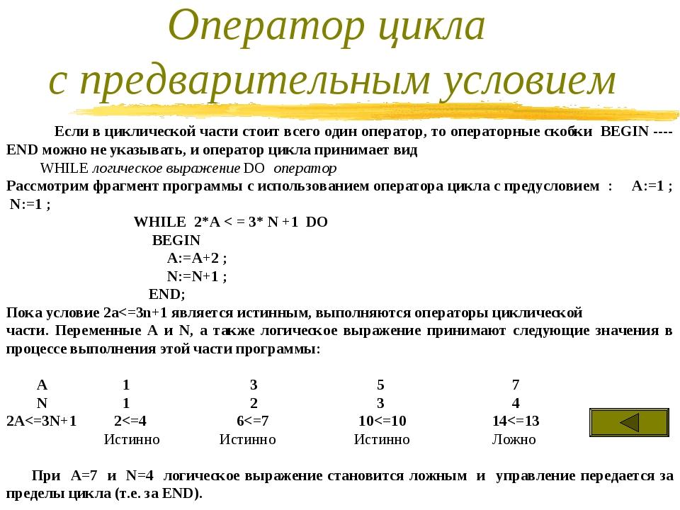 Если в циклической части стоит всего один оператор, то операторные скобки BE...