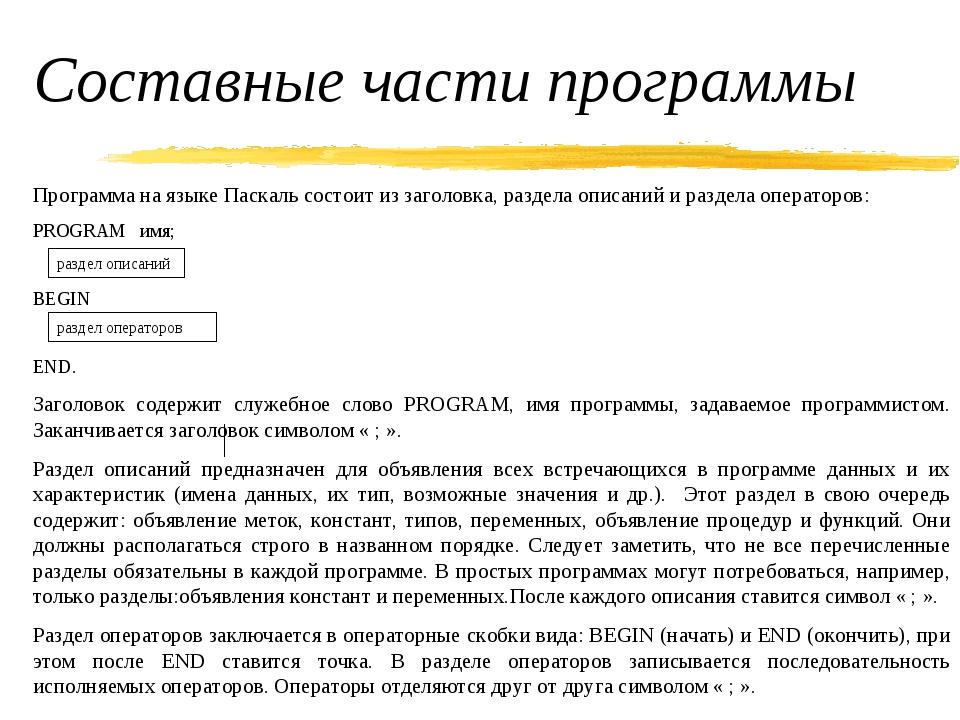 Составные части программы Программа на языке Паскаль состоит из заголовка, ра...