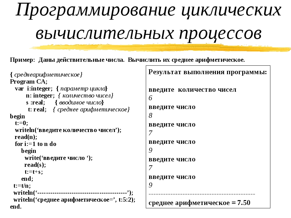 Пример: Даны действительные числа. Вычислить их среднее арифметическое. { сре...