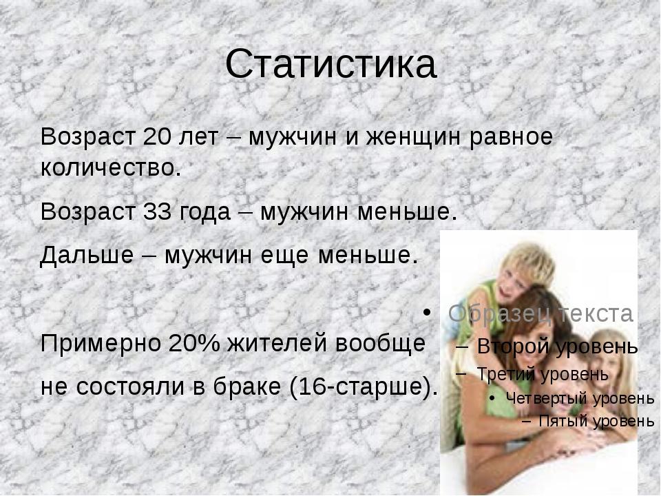 Статистика Возраст 20 лет – мужчин и женщин равное количество. Возраст 33 год...