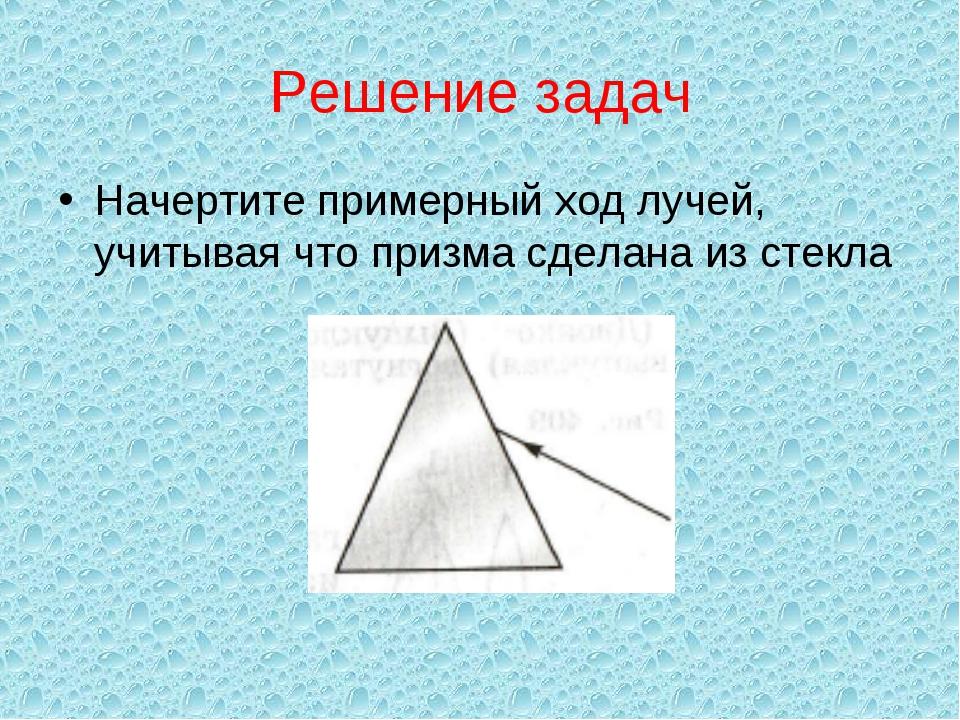 Решение задач Начертите примерный ход лучей, учитывая что призма сделана из с...