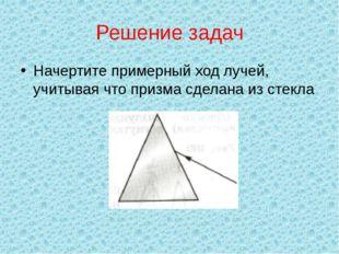 Решение задач Начертите примерный ход лучей, учитывая что призма сделана из с