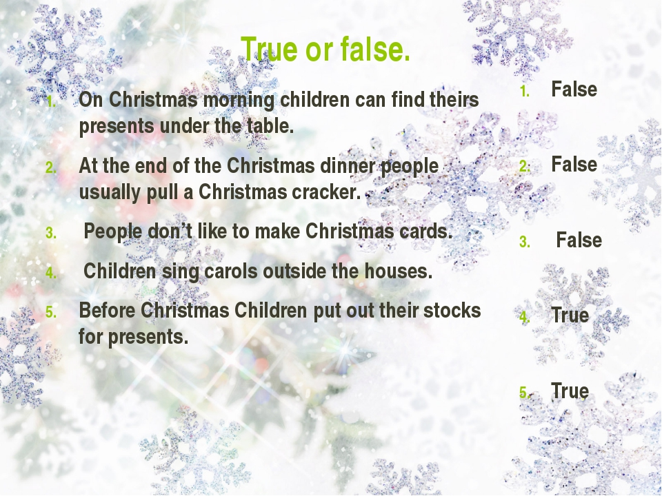 True or false. On Christmas morning children can find theirs presents under t...