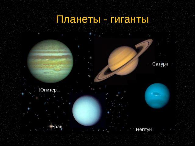 Планеты - гиганты Находятся дальше от Солнца Состоят из веществ в газообразно...