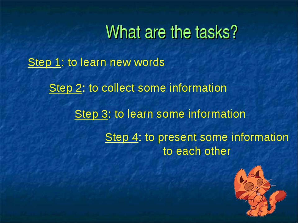 What are the tasks? Step 1: to learn new words Step 2: to collect some infor...