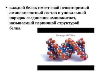 каждый белок имеет свой неповторимый аминокислотный состав и уникальный поряд
