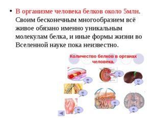 В организме человека белков около 5млн. Своим бесконечным многообразием всё ж