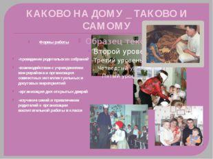 КАКОВО НА ДОМУ _ ТАКОВО И САМОМУ Формы работы -проведение родительских собран