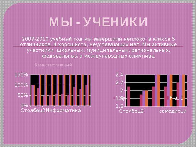 МЫ - УЧЕНИКИ 2009-2010 учебный год мы завершили неплохо: в классе 5 отличнико...