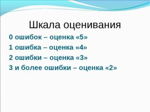 Шкала оценивания 0 ошибок – оценка «5» 1 ошибка – оценка «4» 2 ошибки – оценк