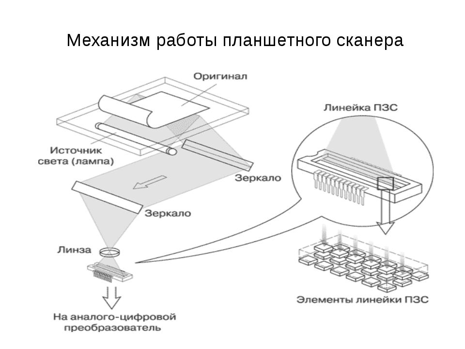 Механизм работы планшетного сканера