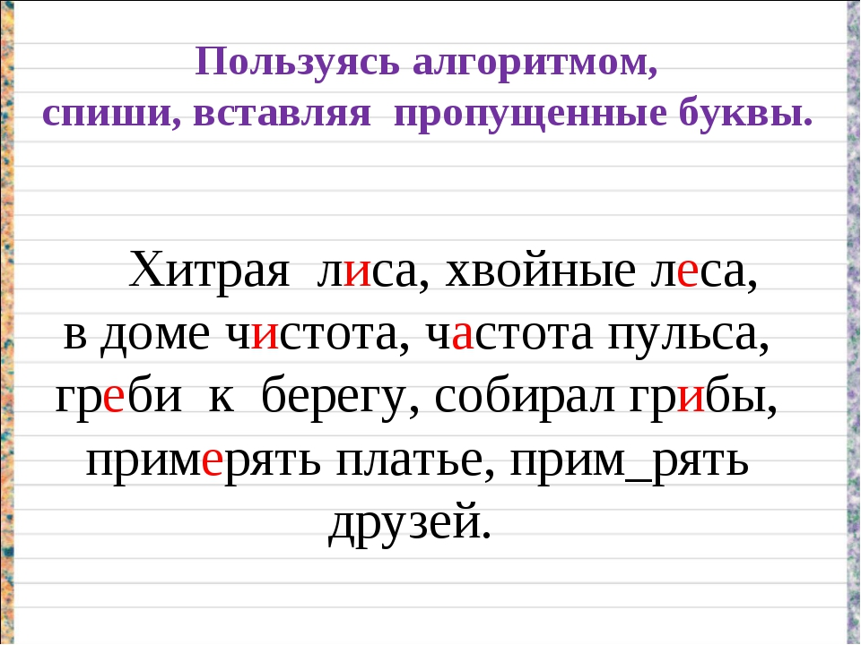 Пользуясь алгоритмом, спиши, вставляя пропущенные буквы. Хитрая лиса, хвойные...