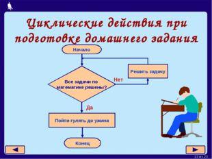 Циклические действия при подготовке домашнего задания Москва, 2006 г. * из 23