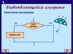 Разветвляющийся алгоритм Неполное ветвление Москва, 2006 г. * из 23