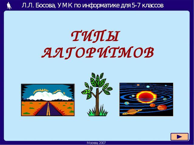 ТИПЫ АЛГОРИТМОВ Москва, 2006 г. Л.Л. Босова, УМК по информатике для 5-7 класс...