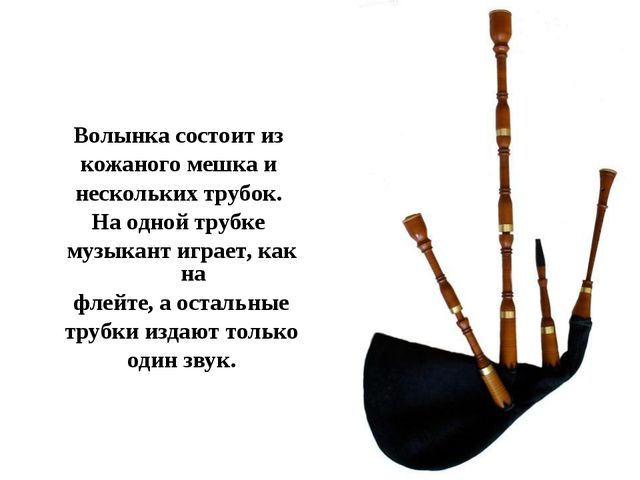 Волынка состоит из кожаного мешка и нескольких трубок. На одной трубке музыка...