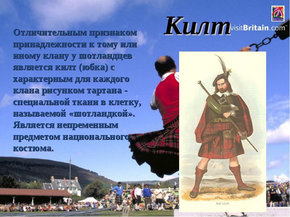 Отличительным признаком принадлежности к тому или иному клану у шотландцев я...