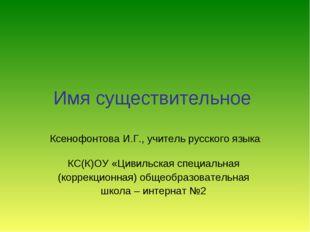 Имя существительное Ксенофонтова И.Г., учитель русского языка КС(К)ОУ «Цивиль